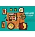 Japanese cuisine seafood dishes with hot pot icon vector image