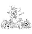 Cute girl in witch costume sitting on the fence vector image