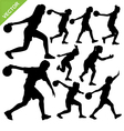 Women palying bowling silhouettes vector image vector image