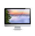 Computer display with Christmas background vector image vector image