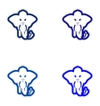 Set of paper stickers on white background elephant vector image