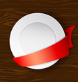dish with red ribbon vector image