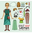 girl in retro or hipster style vector image