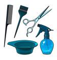 hairdresser objects like scissors brush comb vector image