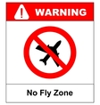 no flying on white backgroundprohibit sign vector image