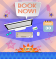 Summer time purple infographic with book now text vector image