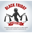 Black Friday Sale Emblem with shopping woman vector image