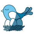 blue silhouette of bird in nest with eggs vector image