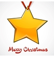 Toy star hanging on red ribbon vector image vector image