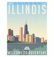 Vintage travel poster chicago skyline vector image