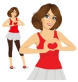 brunette woman making love sign vector image