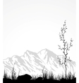 Landscape with mountains glass and tree vector image
