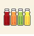 Set Of Colorful Fruit Juice Bottles Healthy Refres vector image