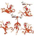 Set Cartoon Cute Monkeys vector image