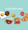set of funny breakfast food icons cartoon face vector image
