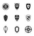 Military shieldd icons set simple style vector image