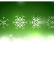 green Christmas card bokeh snowflakes vector image