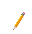 Sharpened wooden pencil with shadow on white vector image vector image