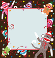 sock monkey invitation vector image vector image