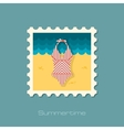 Swimsuit flat stamp vector image