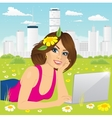 woman using laptop on the beach vector image vector image