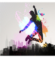 young man jumping over city vector image