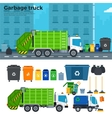 Garbage truck on the street near trash cans vector image