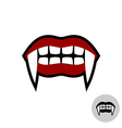 Vampire dracula teeth Red lips mouth with white vector image