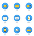 Set of Flat Design SEO Icons With Long Shadow vector image vector image