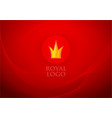 folded red royal silk and label with crown on vector image