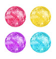 realistic detailed disco ball set vector image