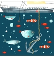 Underwater life Funny fishes anchor and part of vector image