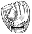 doodle baseball glove vector image vector image