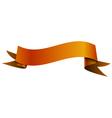 Realistic shiny orange ribbon isolated on white vector image