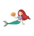 beautiful little mermaid and shell siren vector image