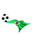 Soccer Ball on Brazilian Flag of Brazil 2014 vector image