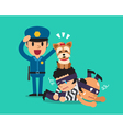 Cartoon a cute dog helping policeman to catch vector image