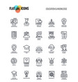 flat line icons design-education and knowledge vector image
