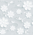 Flowers pattern daisy on gray background vector image