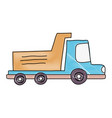 grated dump truck industry and contruccion vehicle vector image