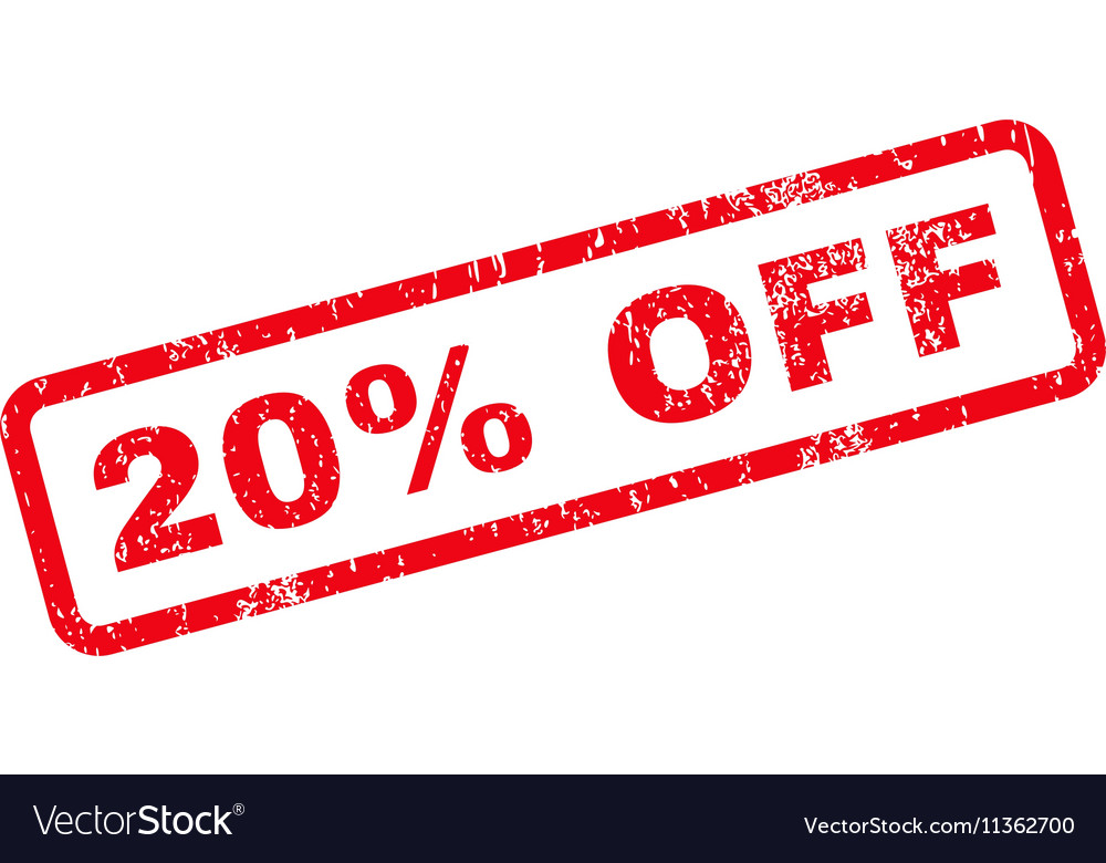 20 percent off text rubber stamp vector