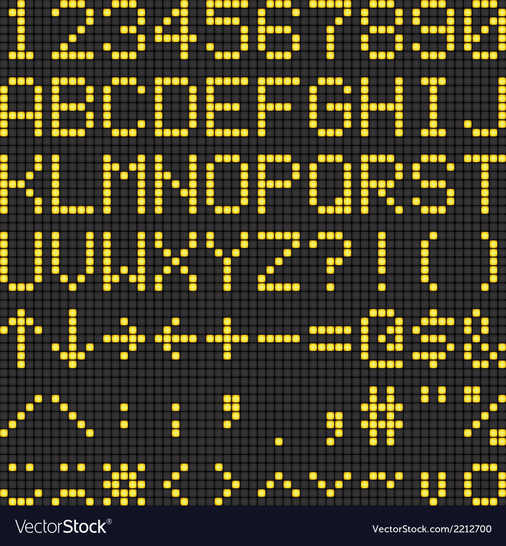 Digital scoreboard alphabet and numbers vector