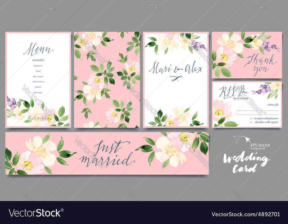 A set of cards for the wedding watercolor vector