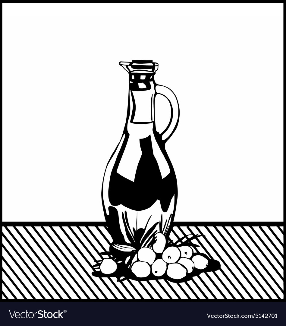 Bottle of oil and olives vector