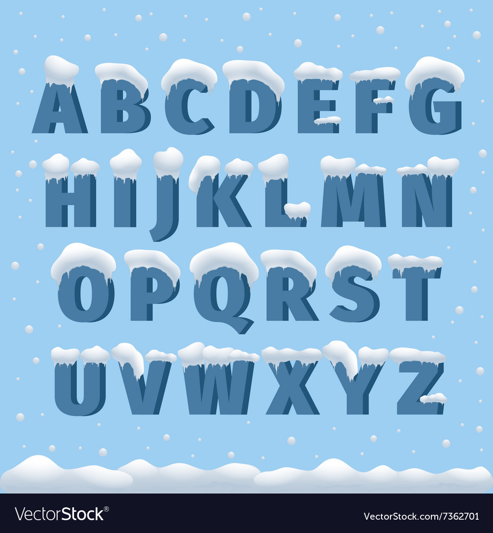 Winter alphabet with snow vector