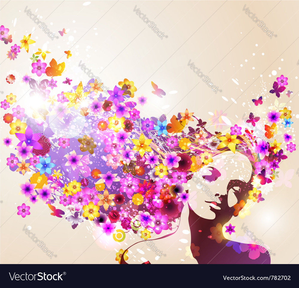 Beautiful young woman vector