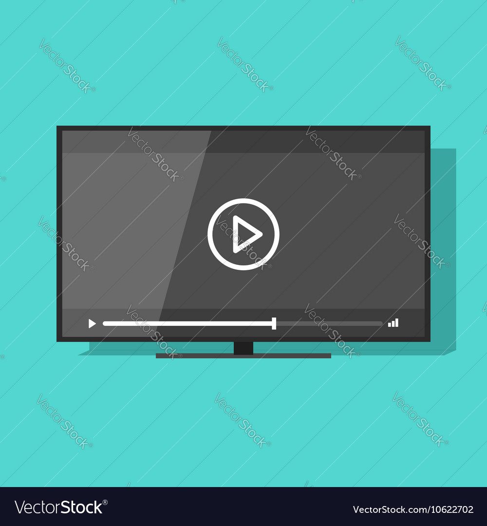 Flat screen tv with video player vector