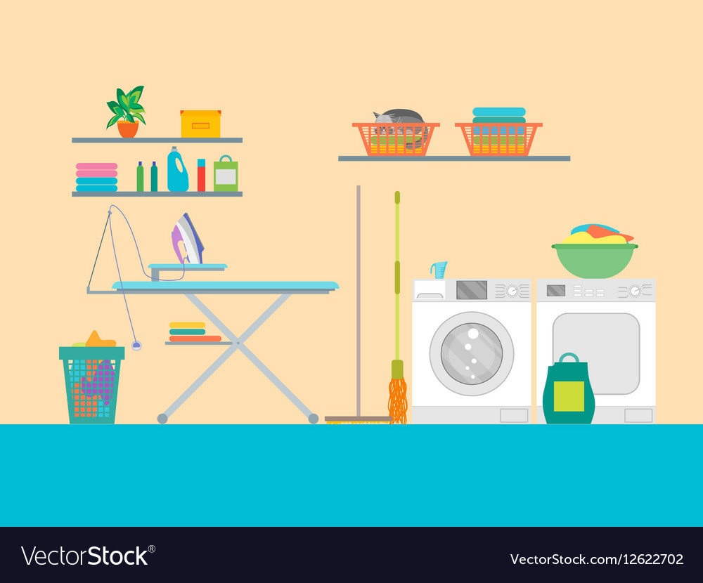 Interior laundry room with furniture vector