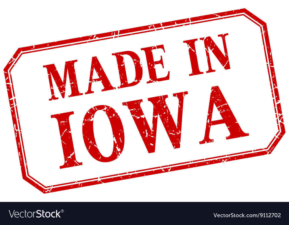 Iowa  made in red vintage isolated label vector
