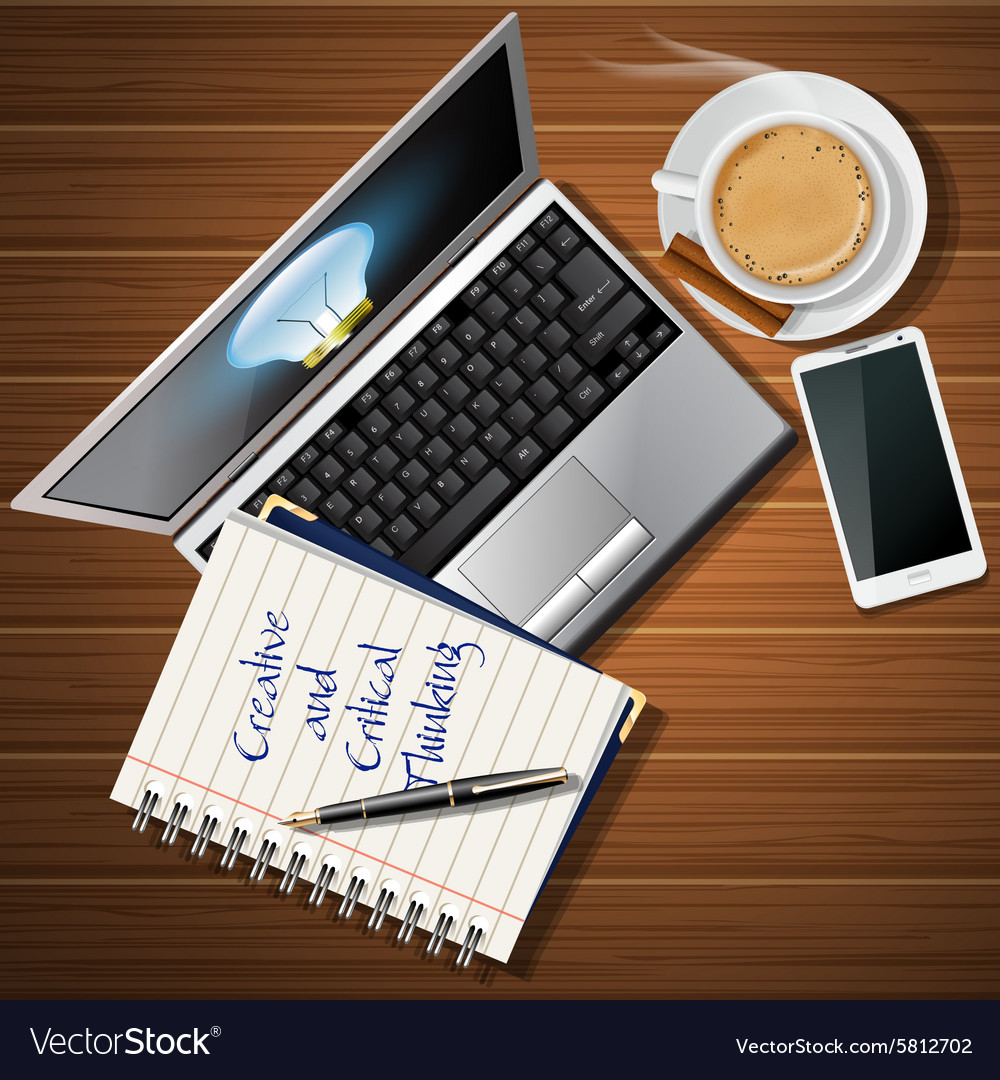 Laptop and mobile phone with hot coffee and book vector